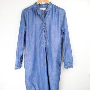 LOFT Dresses - Loft Shirt Dress Denim Tencel Button Pullover